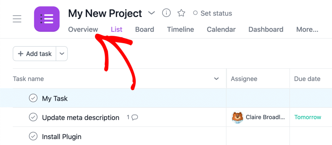 Project overview tab in Asana