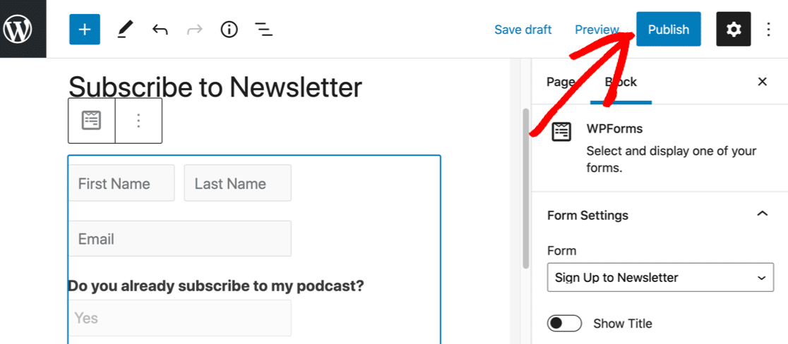 Publish your SendFox WordPress form