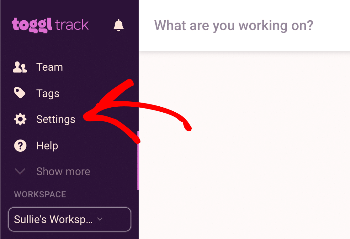 Toggl Track settings
