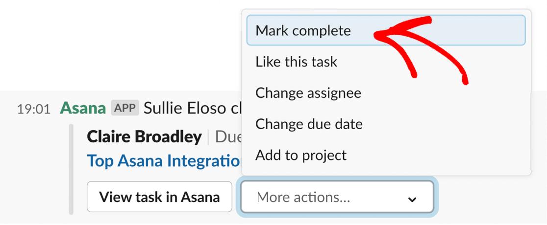 Slack task in Asana