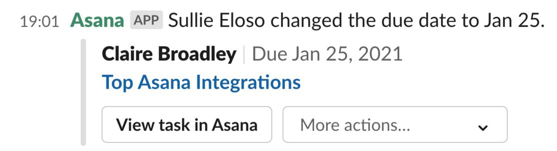 Slack integration in Asana