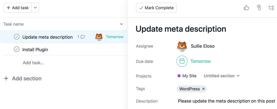 New WordPress task in Asana