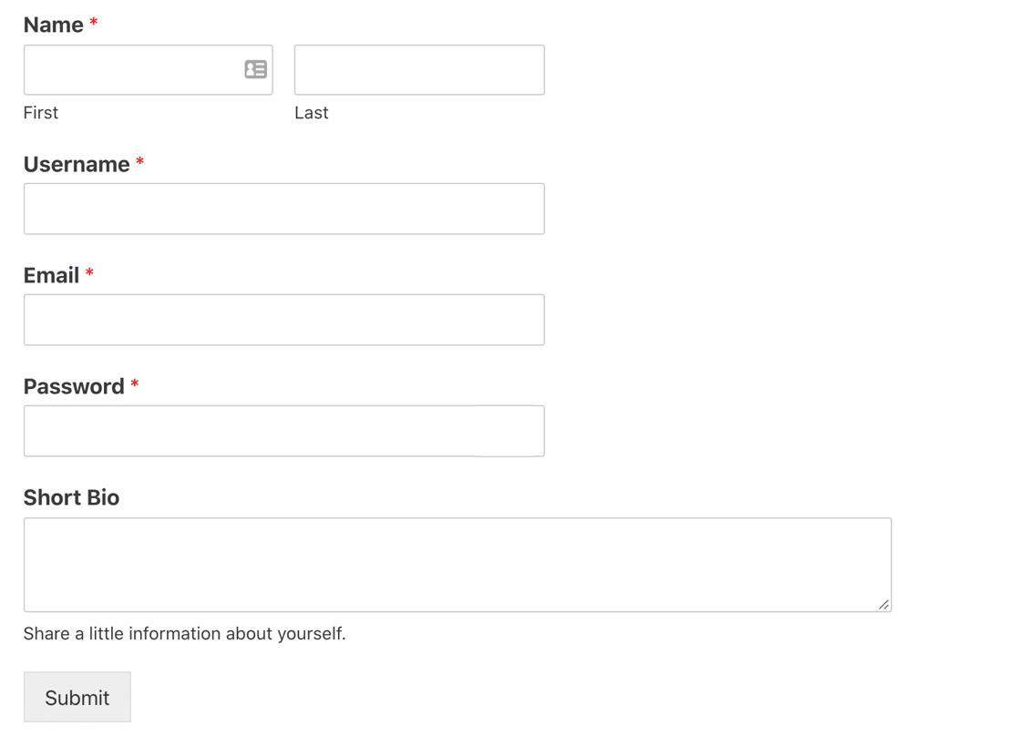 WodPress custom user registration form