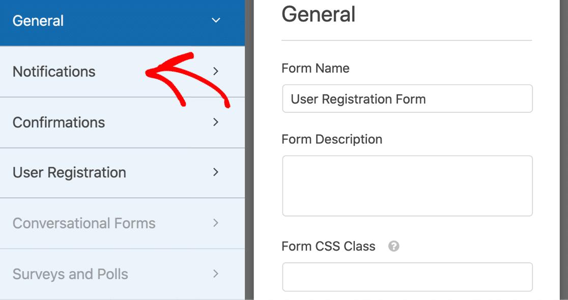 WordPress user registration form notifications
