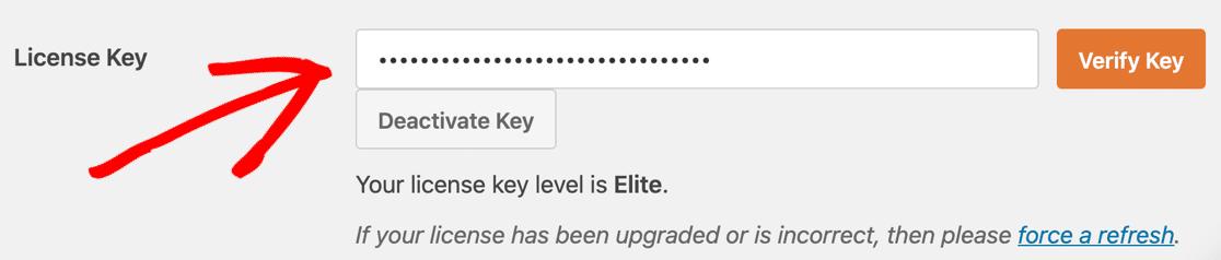 Verify WPForms license key
