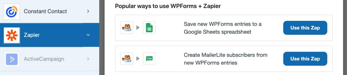 WPForms Zapier settings
