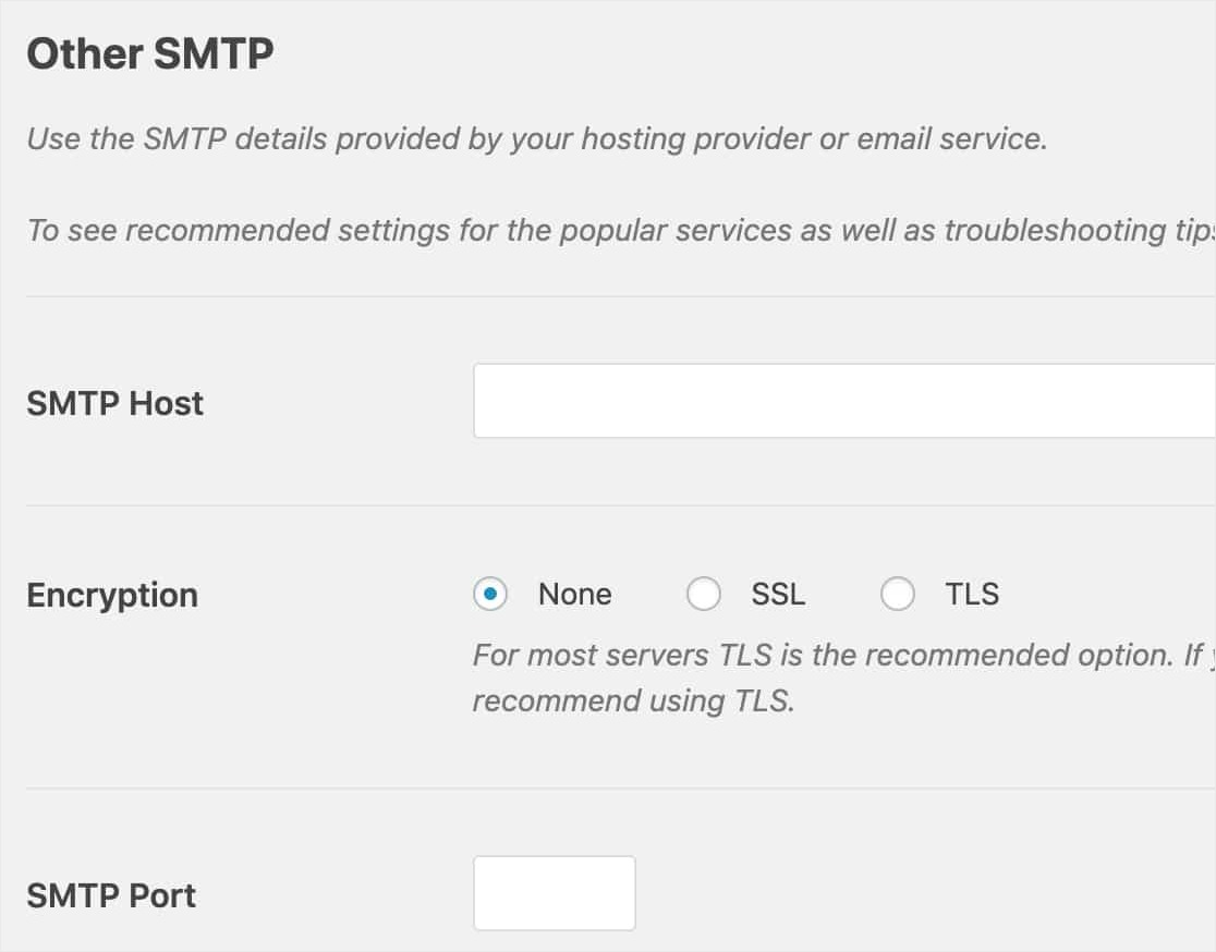 Configure Other SMTP Settings