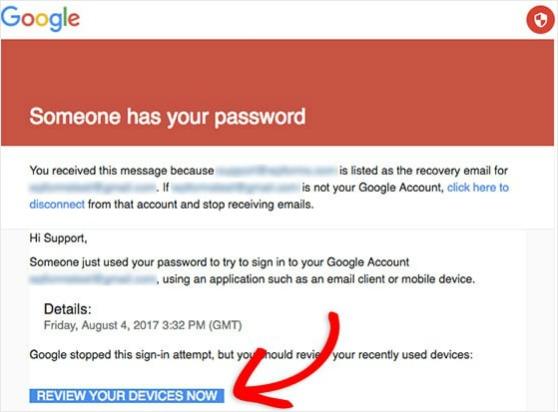 google smtp block when wordpress contact form not sending email