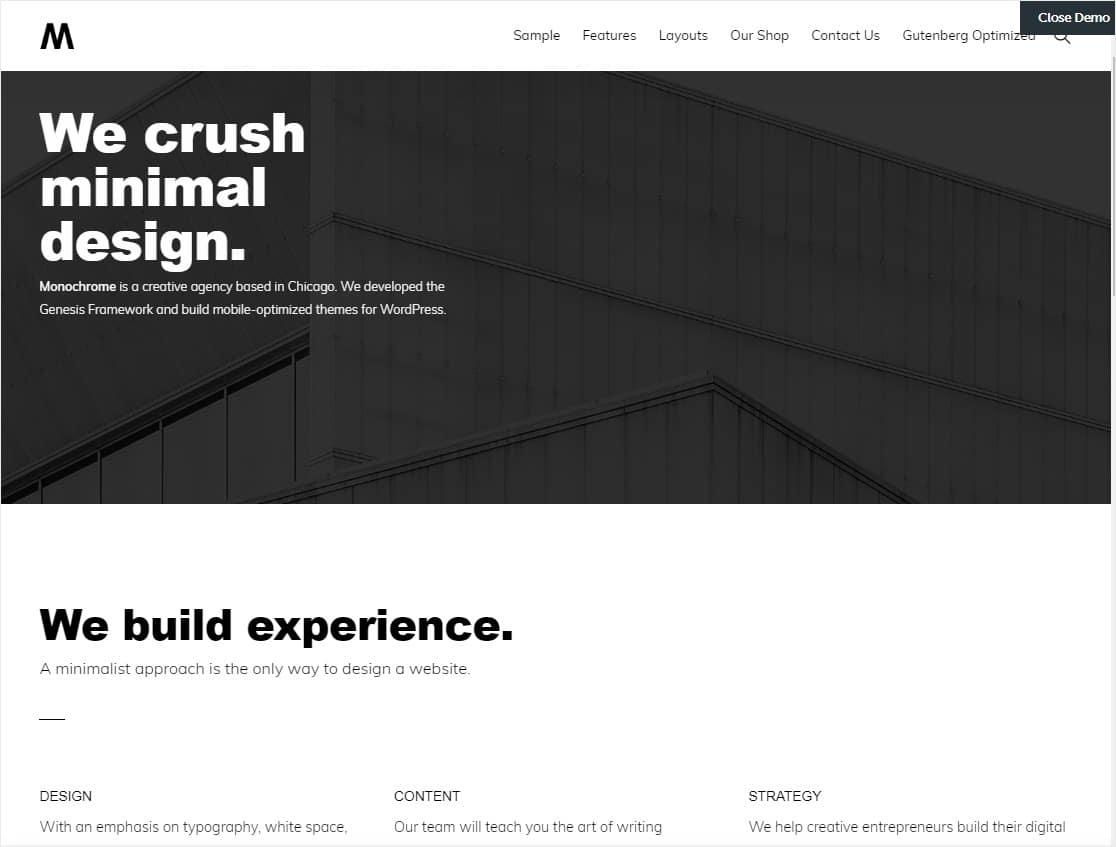 minimalist wordpress theme monochrome pro studiopress