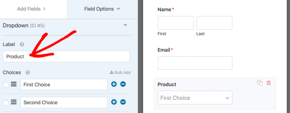 Change the dropdown label on the dynamic choices field