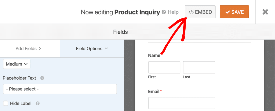 Embed your form with dynamic choices