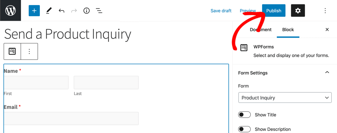 Publish form with dynamic field choices