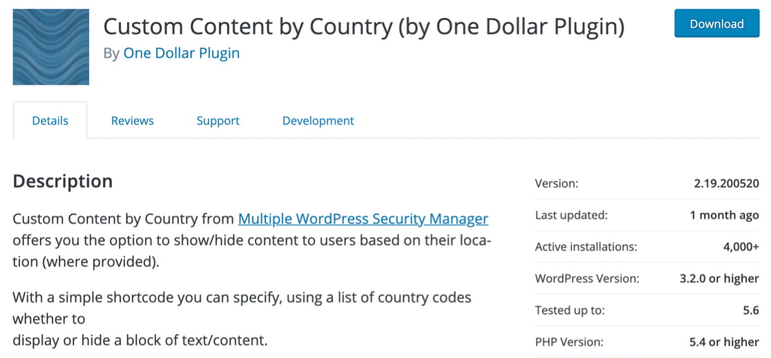 Custom Content by Country geolocation plugin