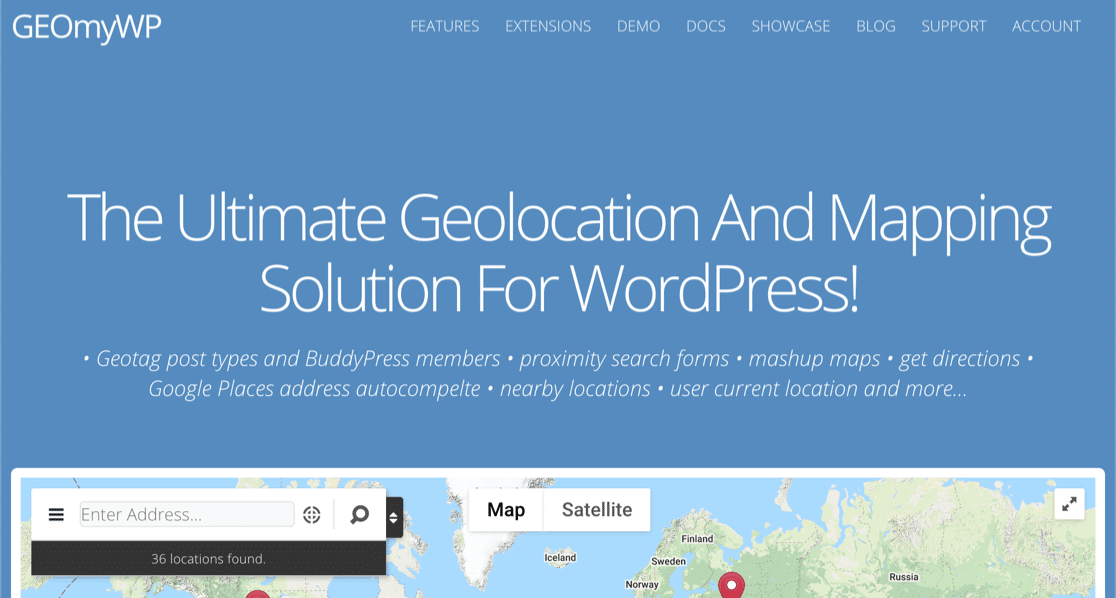 GEO My WP WordPress geolocation plugin homepage