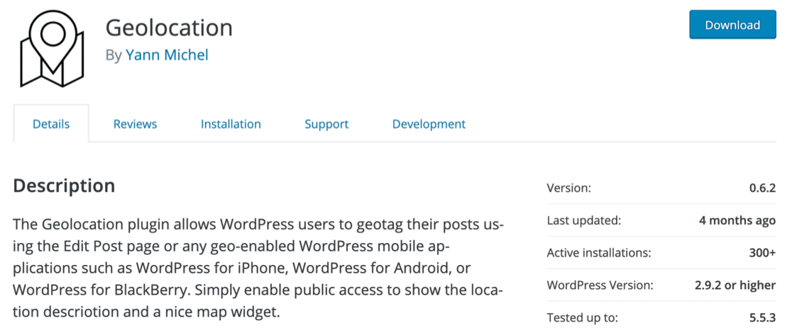 Geolocation plugin for WordPress