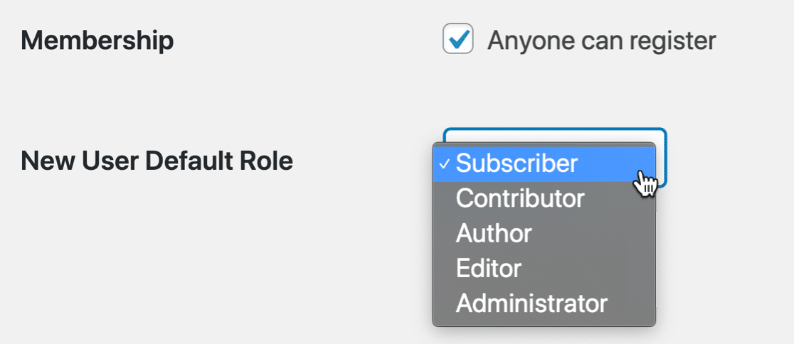 Change the new user default role in WordPress to stop spam user registrations