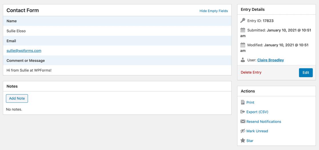 WPForms entry details
