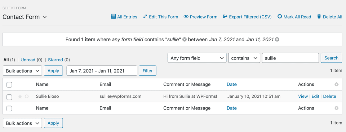 WPForms entry with breadcrumb filter
