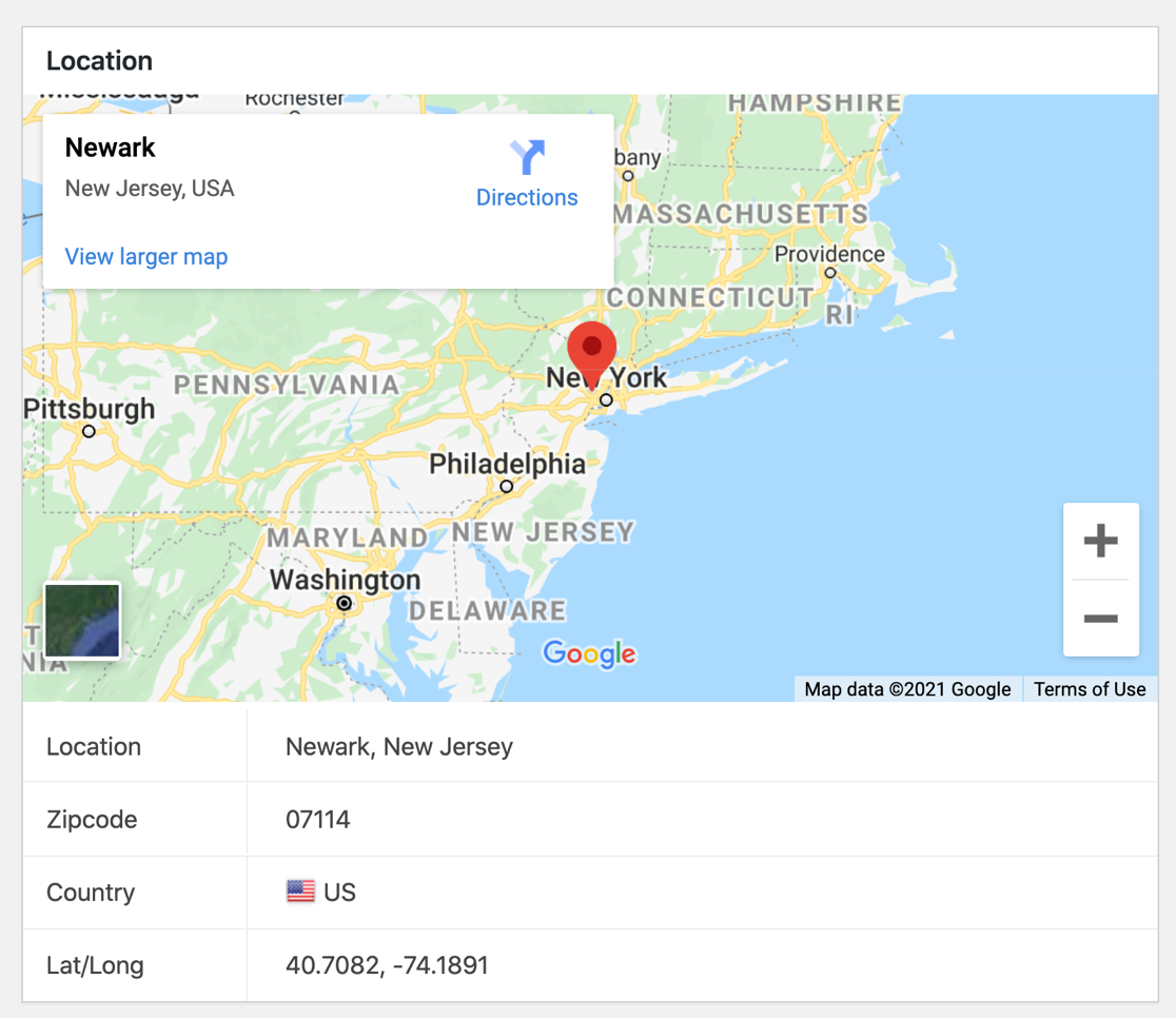 WPForms geolocation for an entry