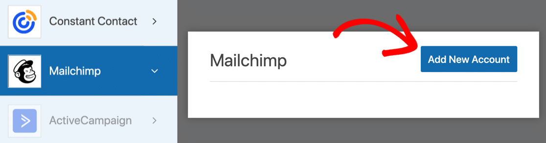 Add new account for Mailchimp in WPForms