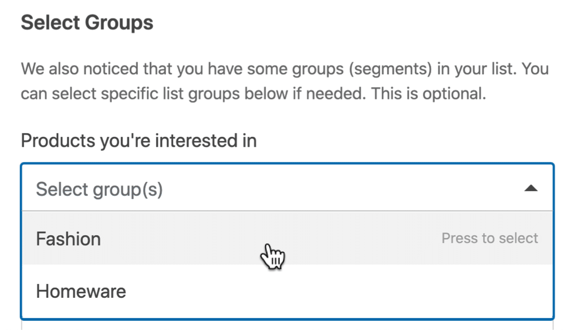 Mailchimp Groups form settings