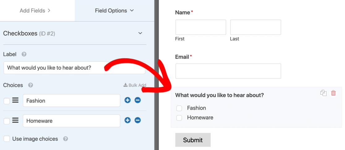 Mailchimp groups checkbox