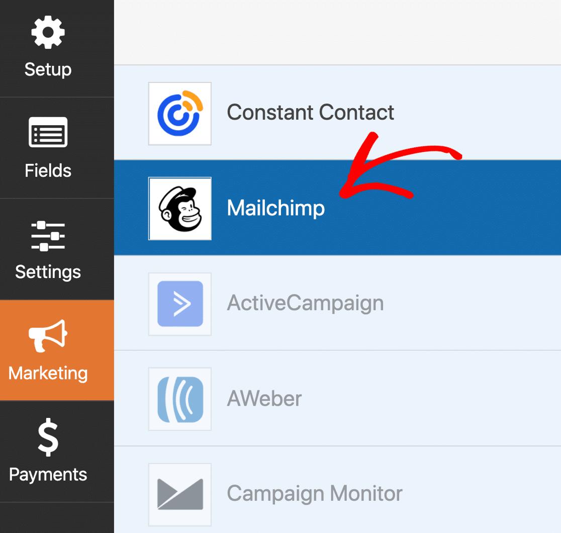 WPForms Mailchimp settings
