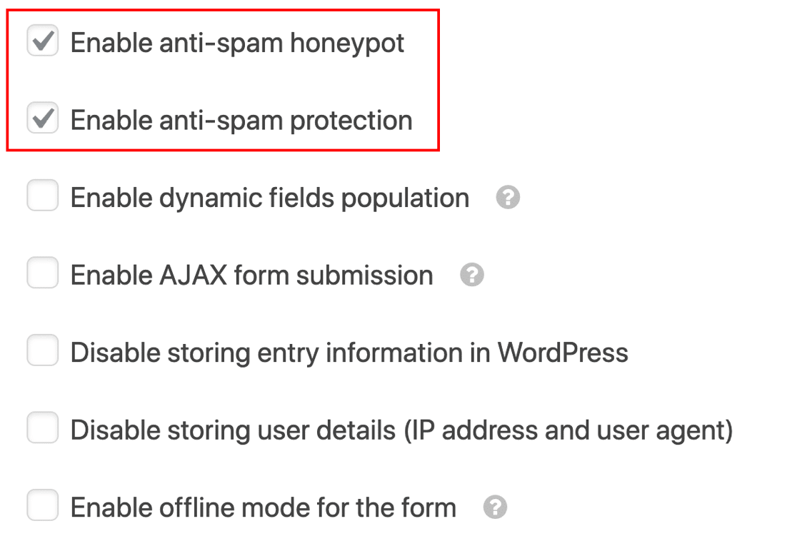 Anti-spam token and honeypot settings