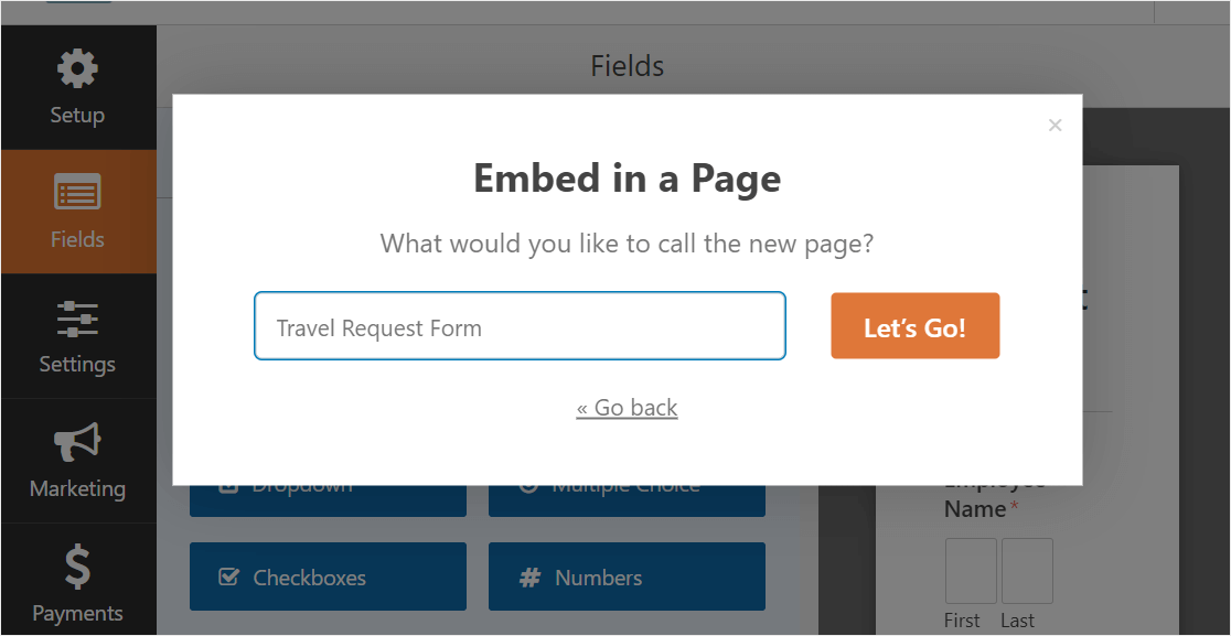 create page for travel release form