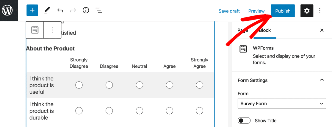 Embed Likert Scale survey