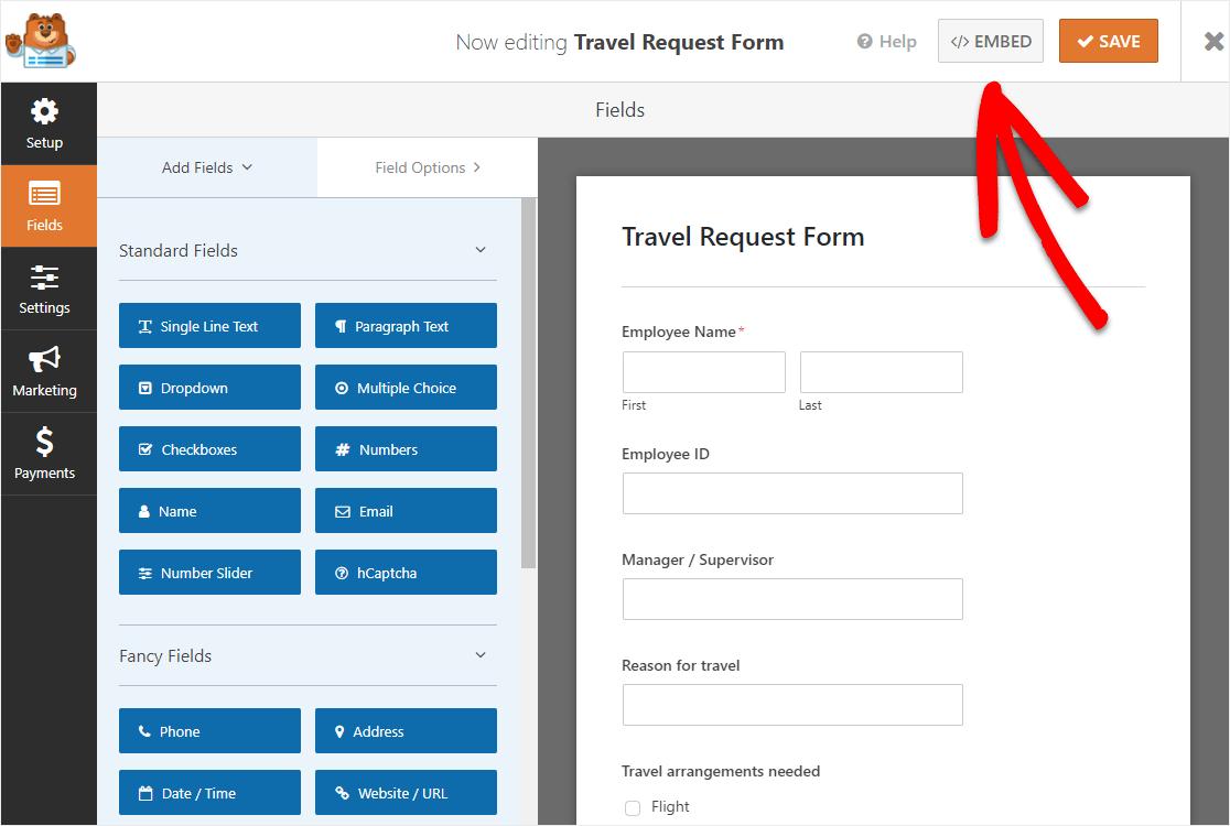 embed online travel request form in wordpress