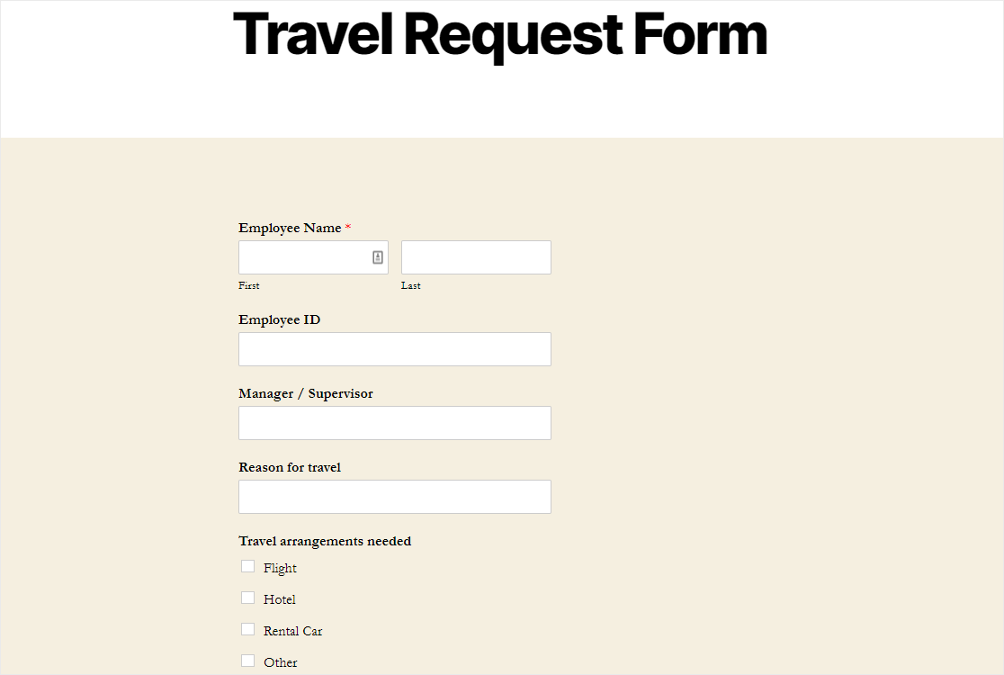 finished online travel request form template