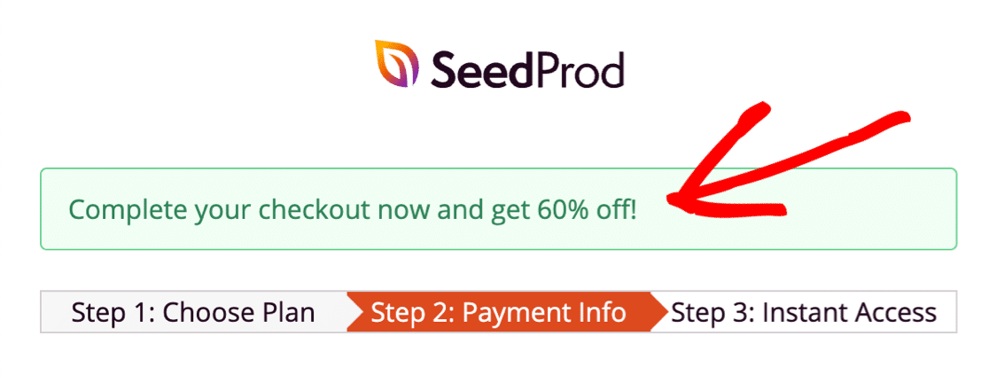 Discount on landing page form
