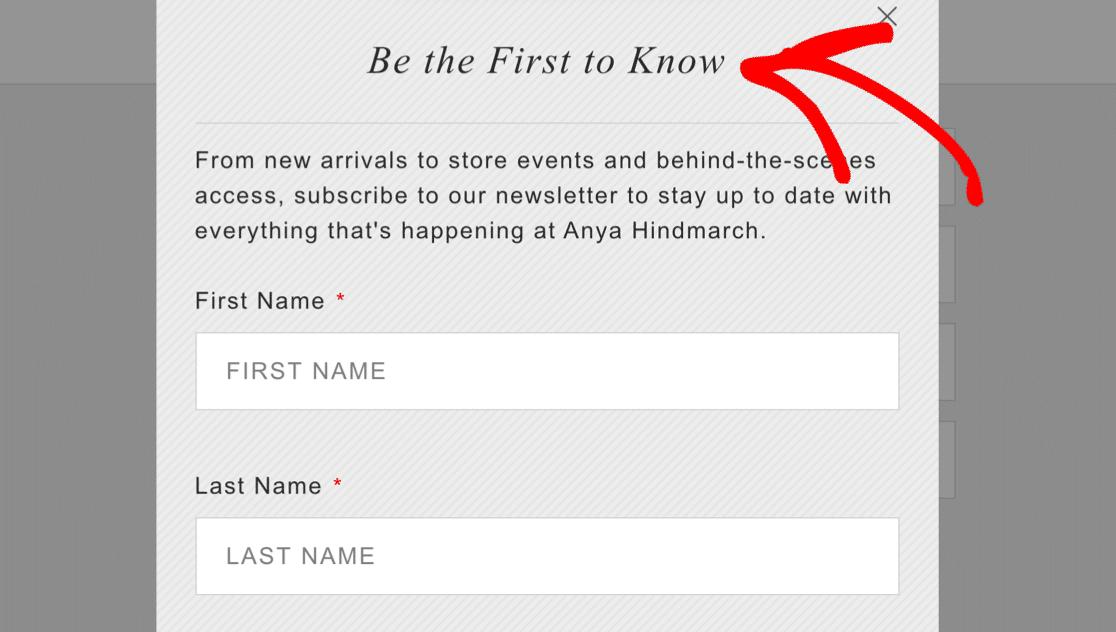FOMO on landing page form