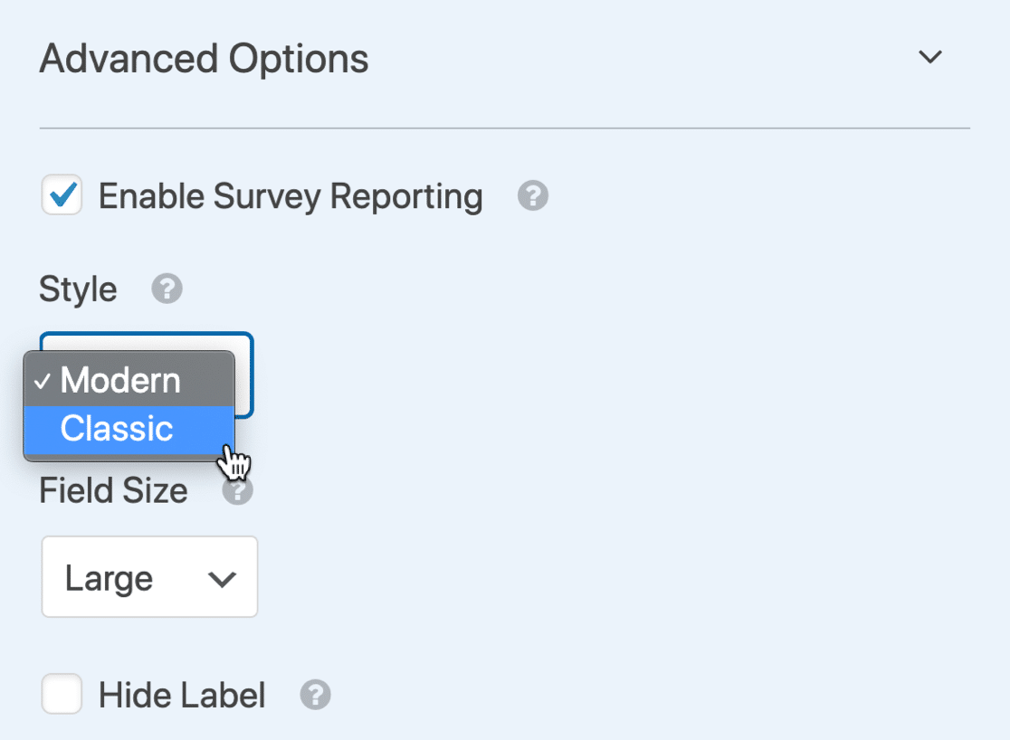 Advanced options for Likert Scale template