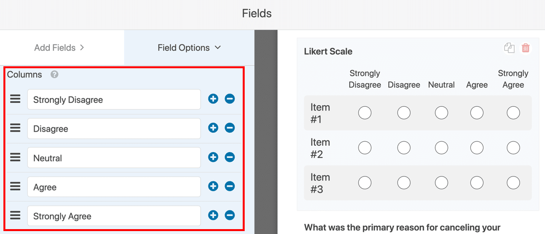 Likert Scale question answers on template