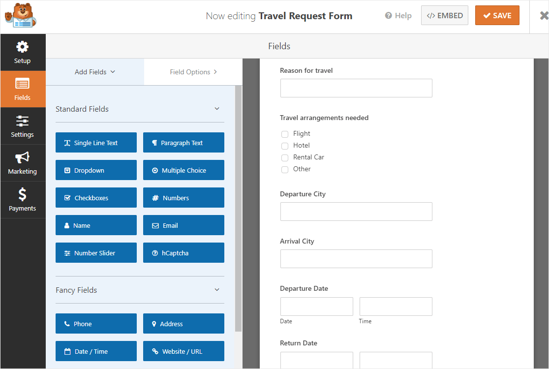 new online travel request form template