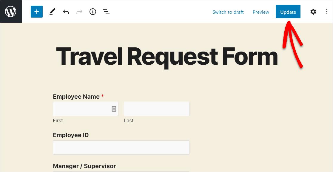publish travel request form