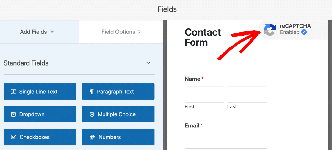 reCAPTCHA badge on simple contact form