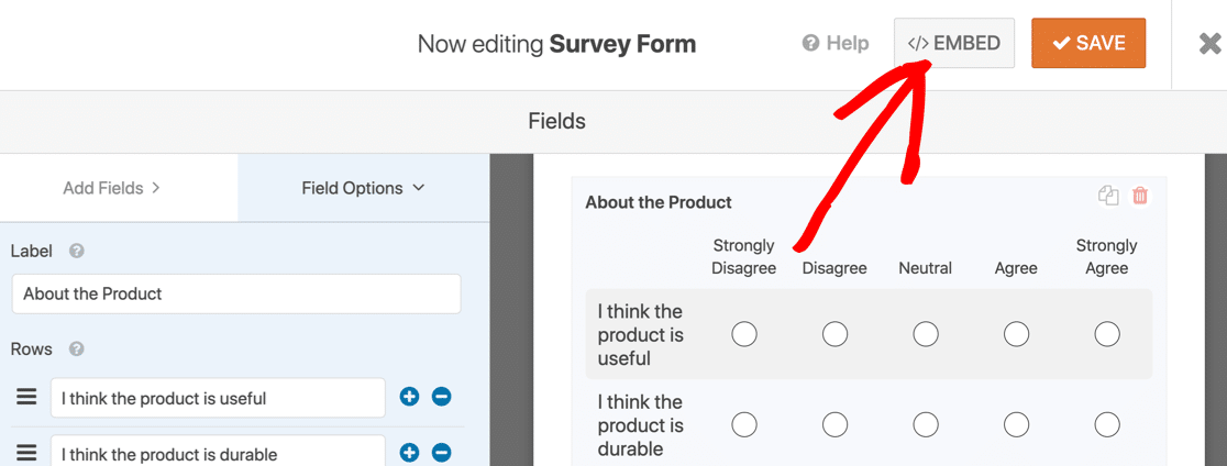 Embed button at the top of Likert Scale survey