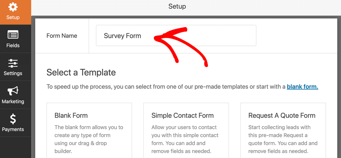 Name your survey form template