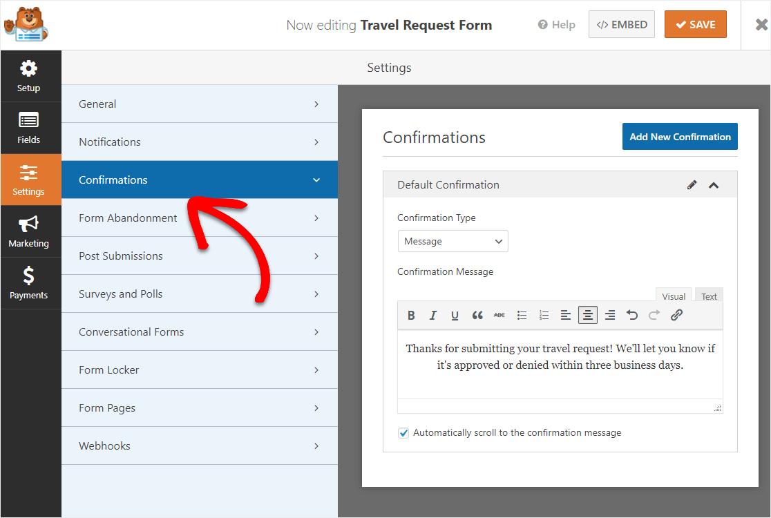 travel request form confirmation message wpforms