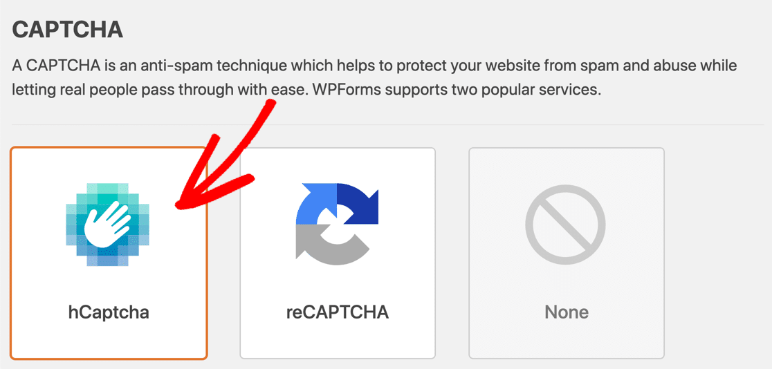 Select hCaptcha in WPForms